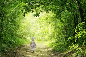 Girl in woods illustration